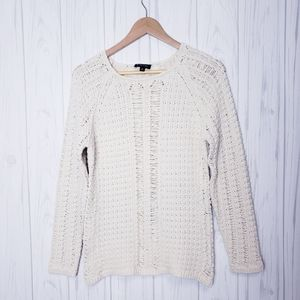 Etcetera Cream Crochet Knit Cotton Sweater Med